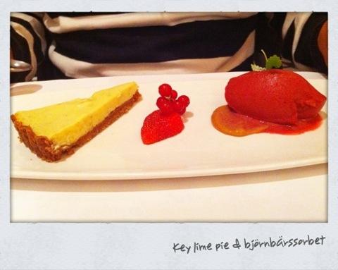 Key lime pie & björnbärssorbet