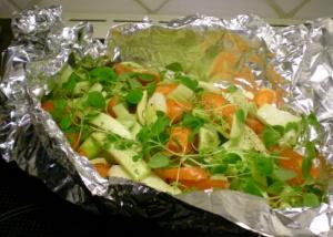 Grönsaker i foliepaket