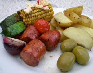Chorizo, grönsaker och potatisklyftor