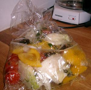 Grönsaker i ugnspåse