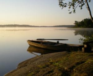 Kräftsjön tidigt på morgonen med ekan som morfar har byggt i förgrunden