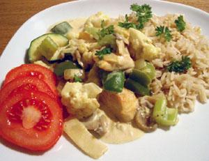 Kyckling & grönsaker i curry