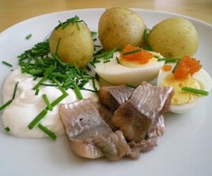 Matjesill, färskpotatis, gräddfil, gräslök och kokt ägg