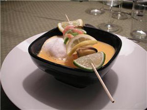 Jessicas Alla Hjärtans Dag-middag; Skummig räksoppa med skaldjursspett