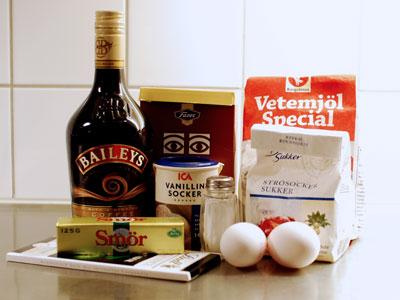 Ingredienser till Baileyskakan