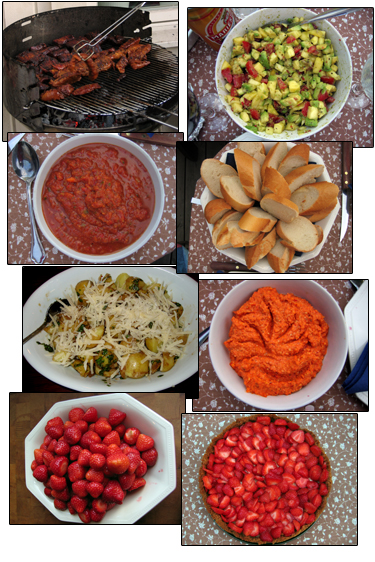 mat på grillen, mango/avokadosalsa, tomat/chilisalsa, baguette, basilikapotatis, paprikapesto, jordgubbar, key lime paj