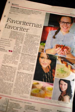 Artikel om populära matbloggare i SvD