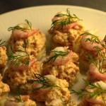 Kanapéer med kräftstjärtar och sweet chili